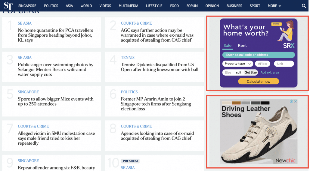 A screengrab of Google Display Ads shown on The Straits Times