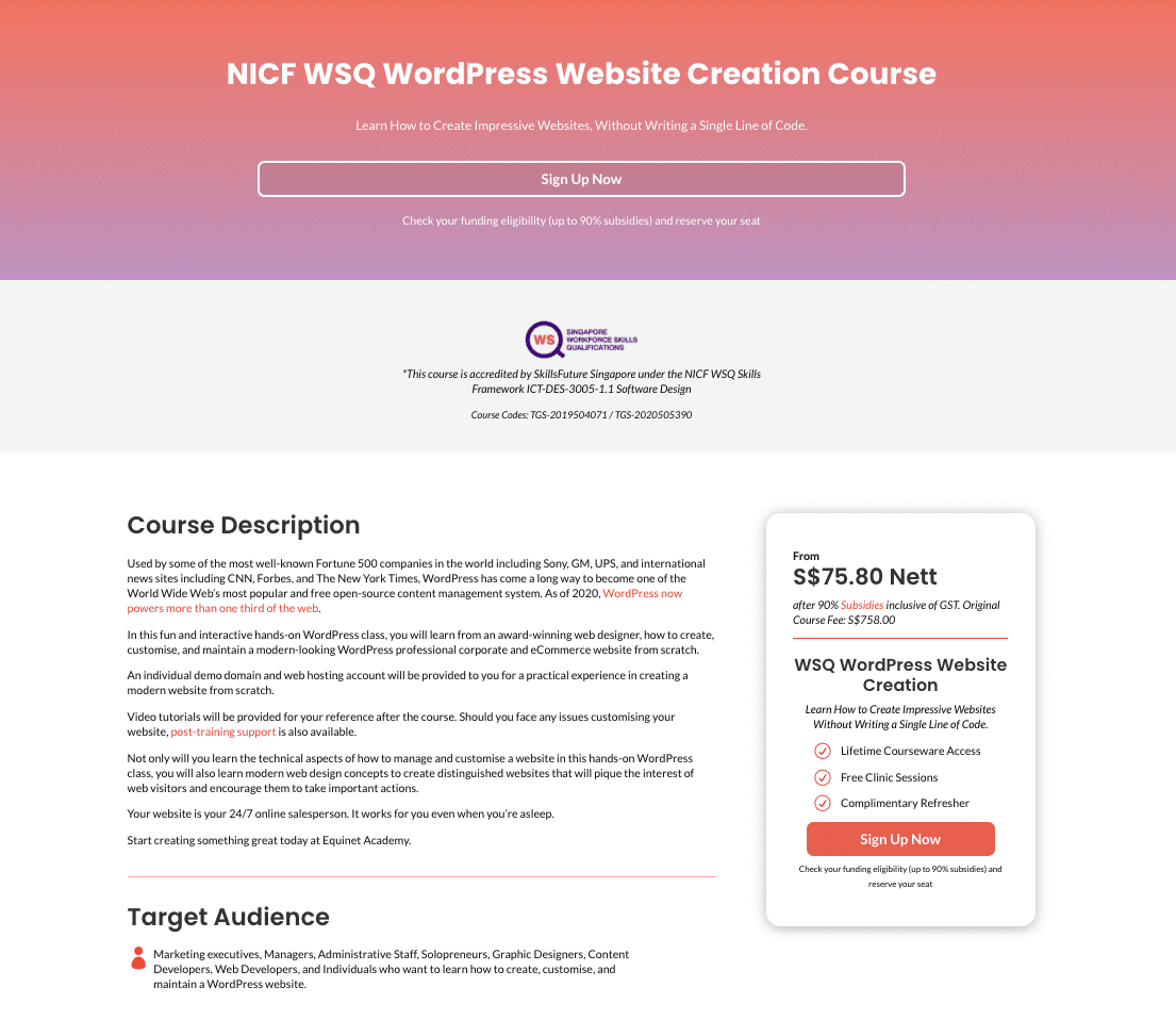 website landing
