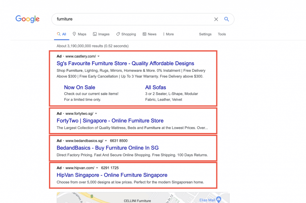 A screengrab of Google Search Ads shown on Google