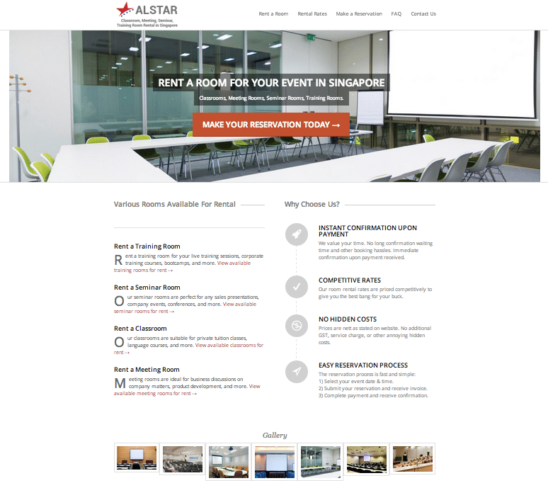 Training room rental web design preview