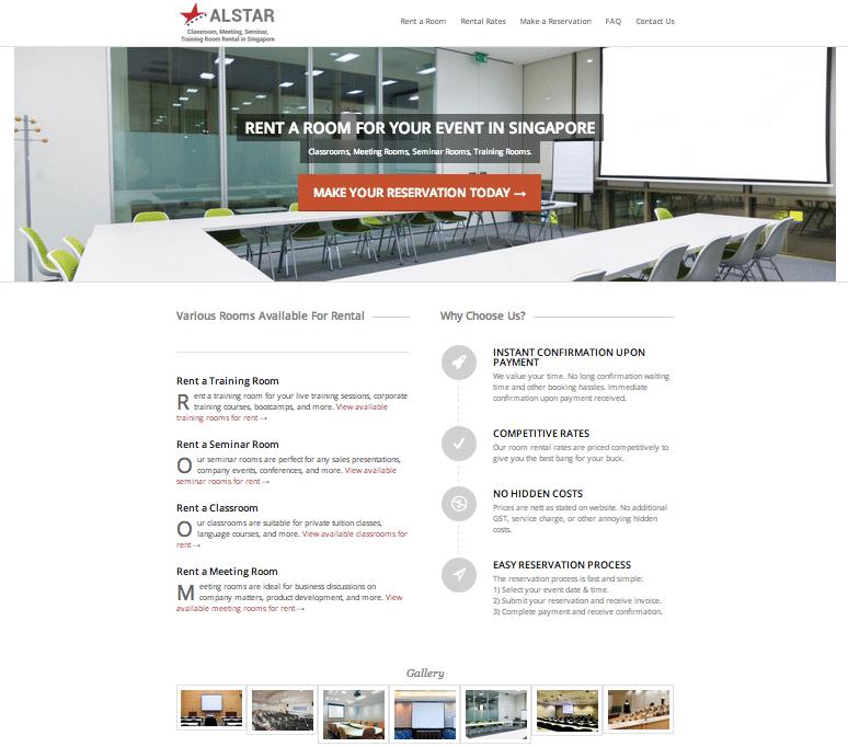 Training room rental web design preview