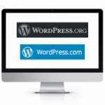 Wordpress.org vs. wordpress.com on computer screen