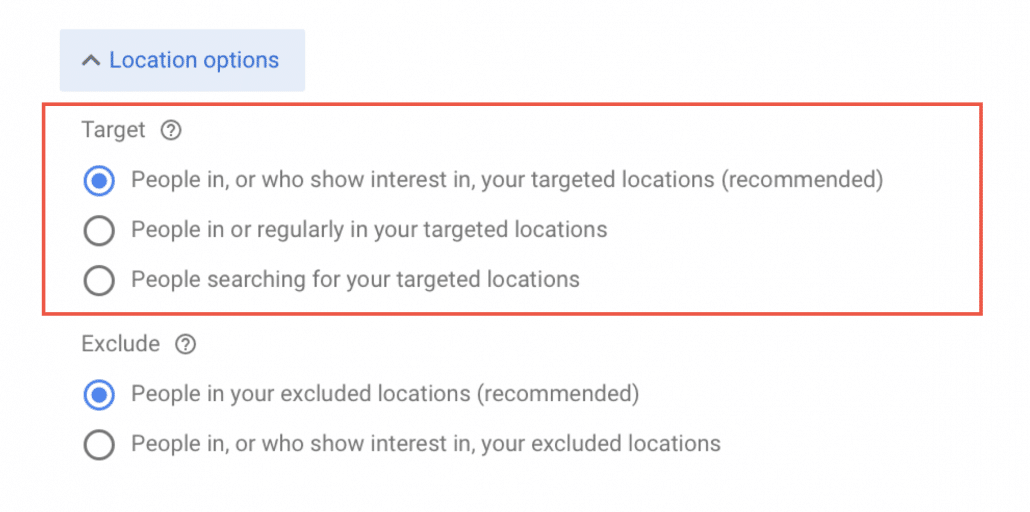 Location options – Target.