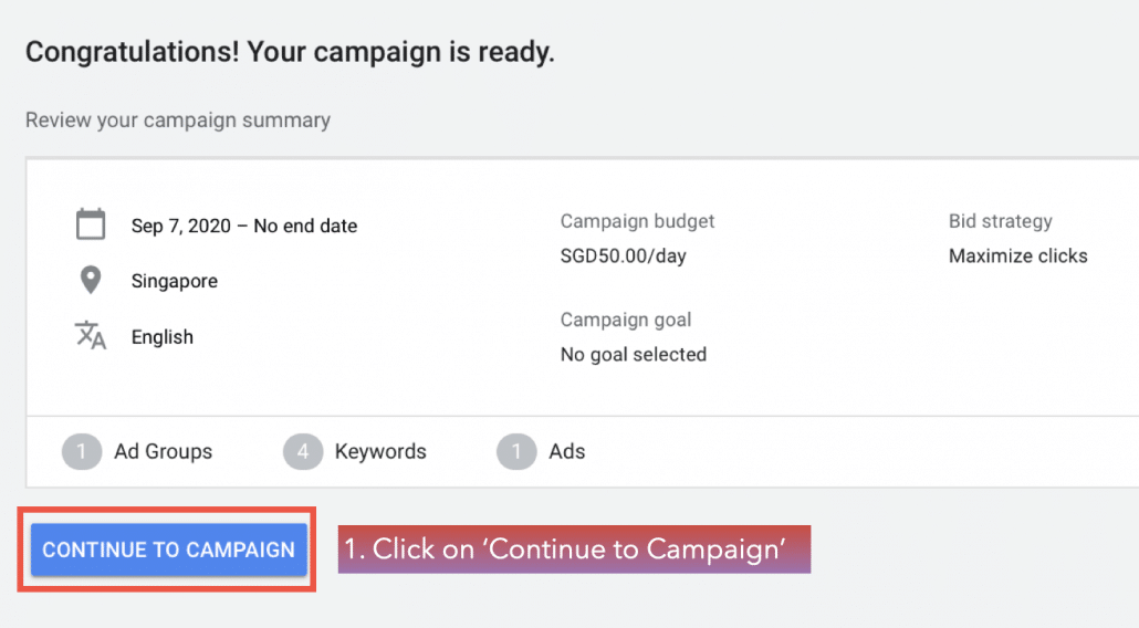 Click on 'Continue to Campaign'.