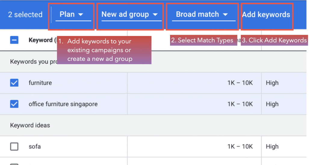 Add the keywords to existing or new campaigns.