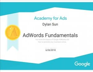AdWords Fundamentals Certificate Sample