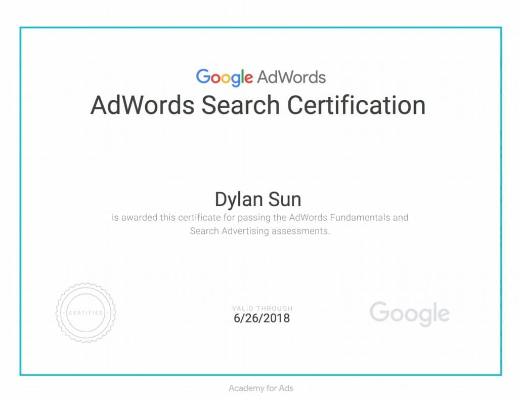 Sample of Google AdWords Search Certification (After passing AdWords Fundamentals and AdWords Search)