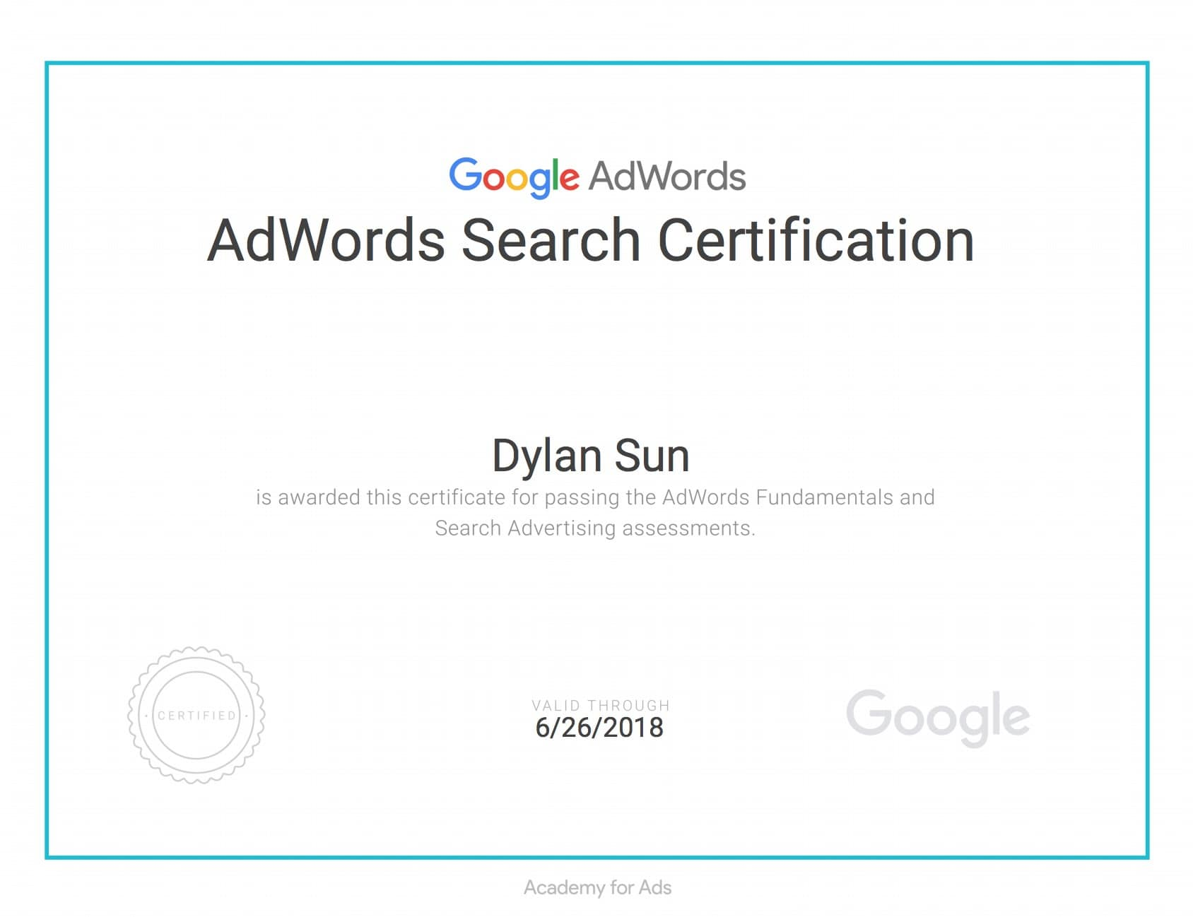 Google adwords fundamentals certification course 2018 equinet sample of google adwords search certification after passing adwords fundamentals and adwords search xflitez Image collections