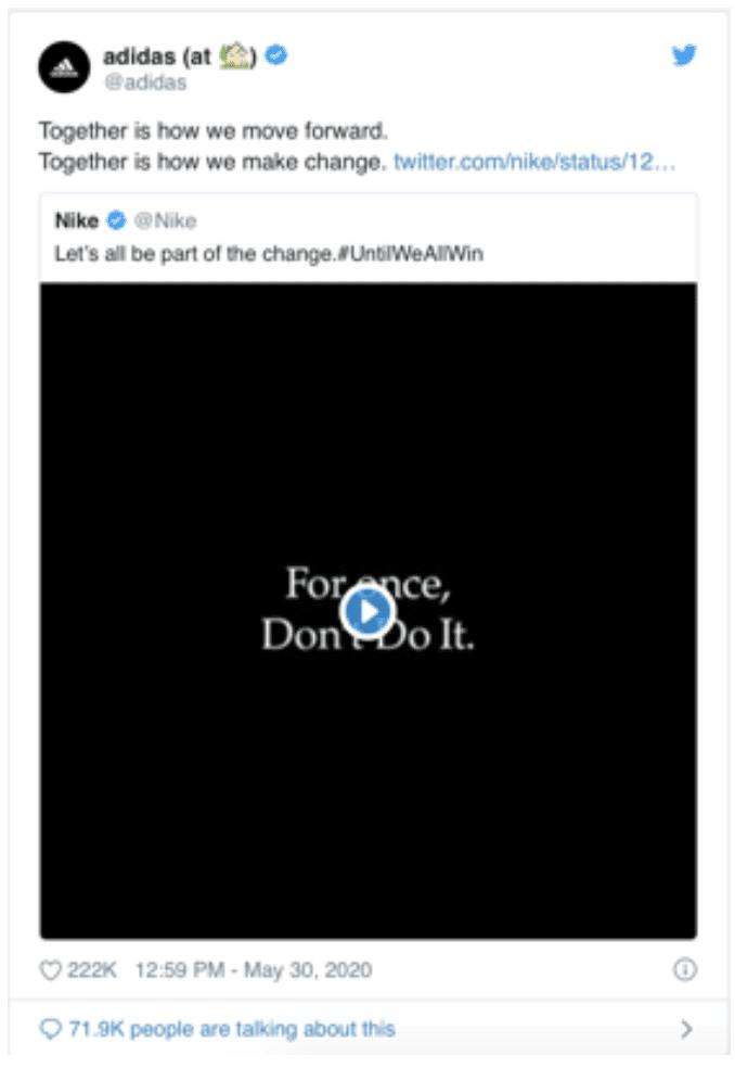 Adidas shared nike instagram untilweallwin