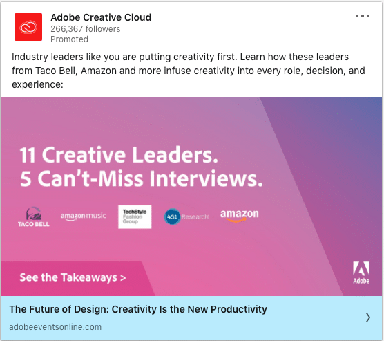 Adobe Creative Cloud ads on 5 Can't-Miss Interviews