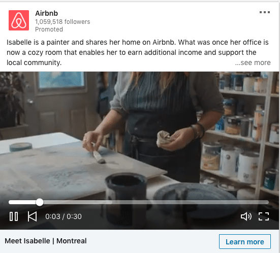 Airbnb ads on how Isabelle earn additional income and support the local community