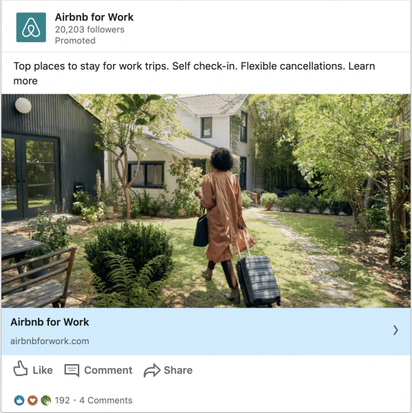 Airbnb for Business ads on Top places to stay on work trips