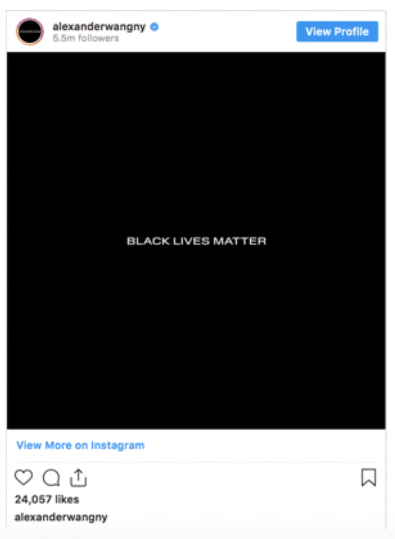 Alexander wang new york instagram black lives matter campaign