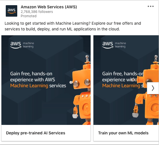 Amazon Web Services (AWS) ads on Machine Learning