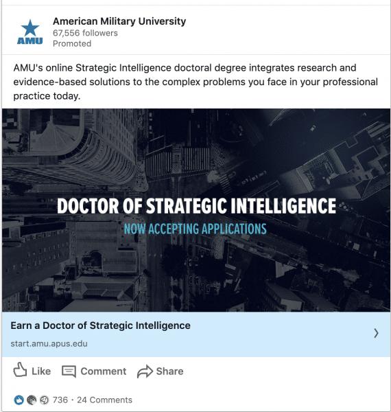 American Military University ads on Doctor of Strategic Intelligence