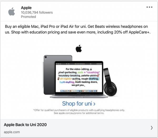 Apple ads on Uni 2020