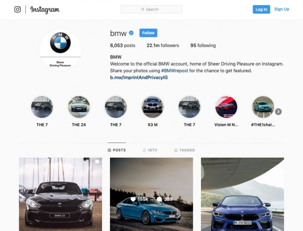 BMW Instagram B2C Content Marketing Example