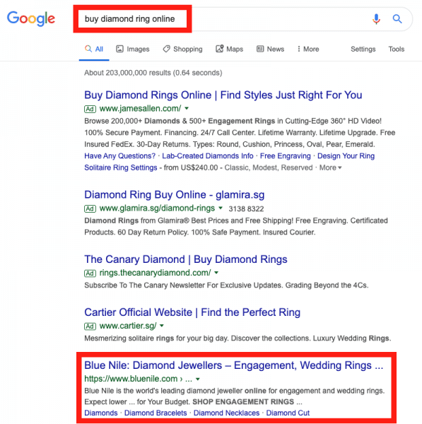 Bluenile-ranking-number-one-for-SEO