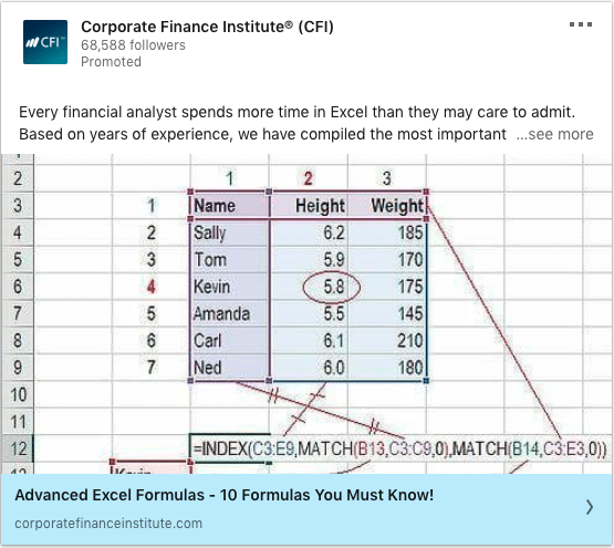 Corporate Finance Institute (CRI) ads on Advanced Excel Formulas