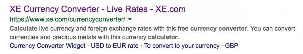 Currency converter calculator search result