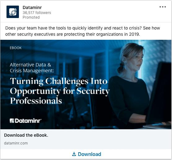Dataminr ads on Alternative Data & Crisis Management