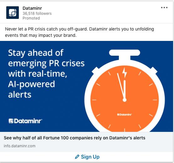Dataminr ads on PR crisis