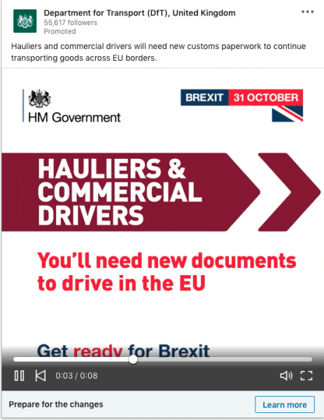 Department for Transport (GfT), United Kingdom ads on Hauliers & Commercial Drivers