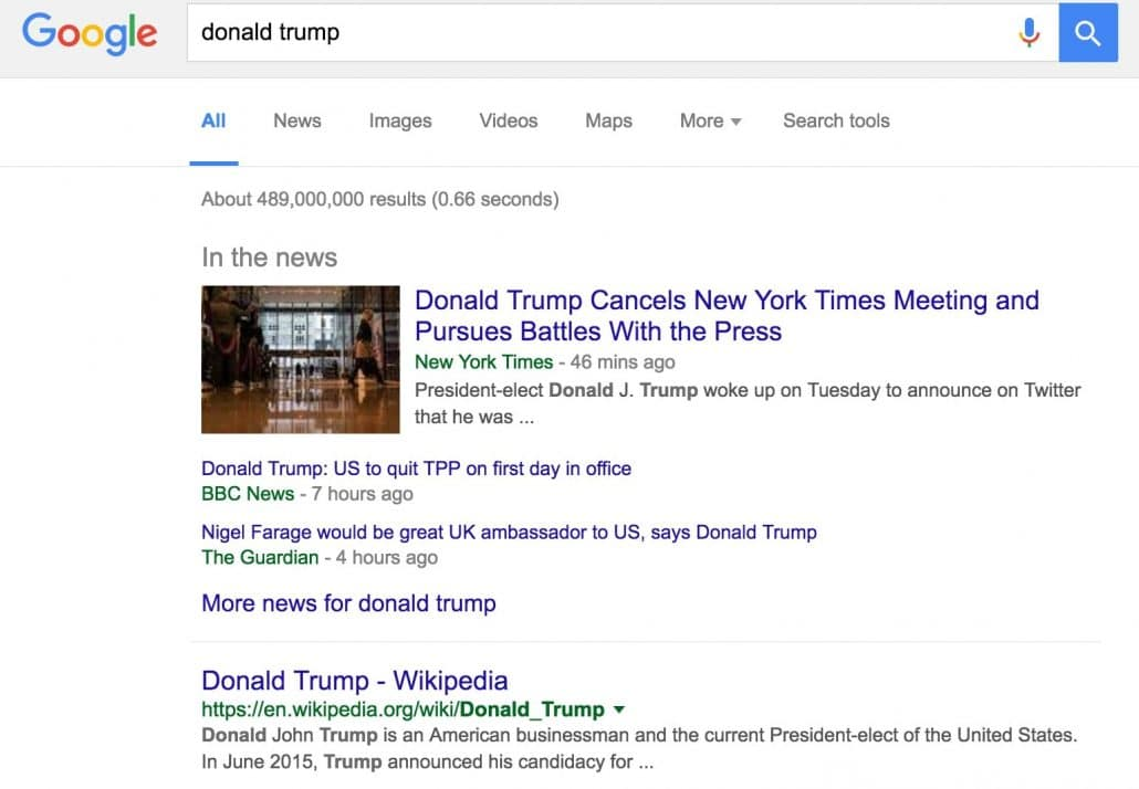 Donald Trump QDF Search Results