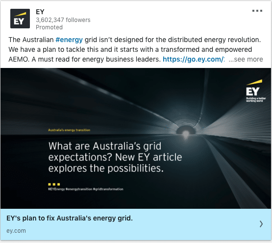 EY ads on Australia's grid expectations