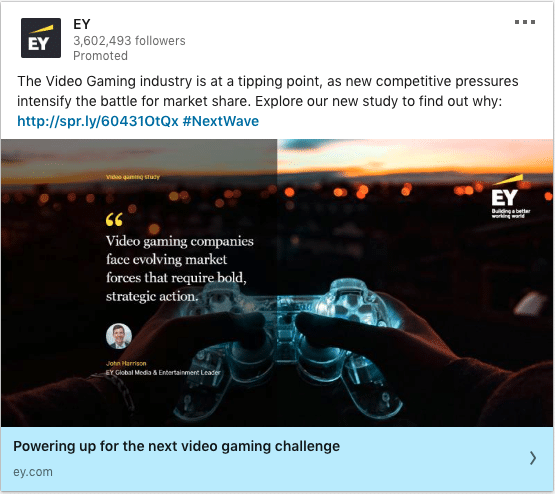 EY ads on Video Gaming industry