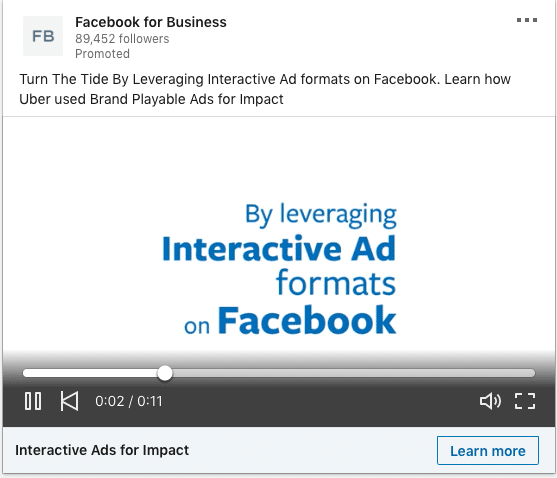 Facebook for Business ads on Interactive Ad formats