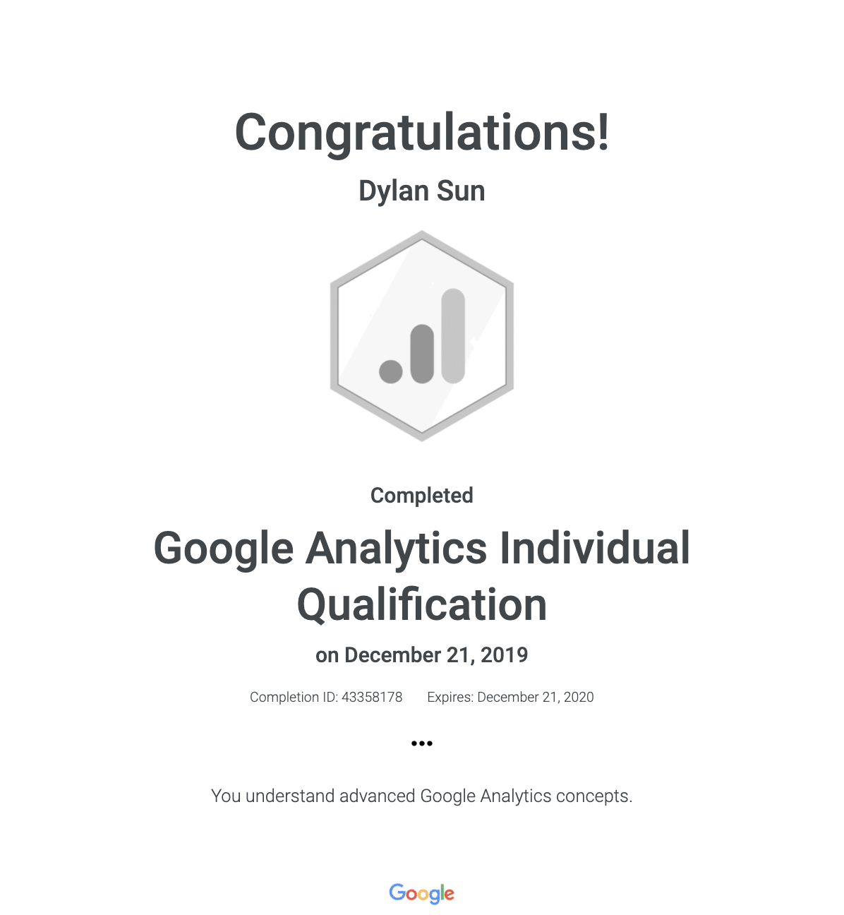 Google Analytics Individual Qualification (GAIQ) Certification Sample