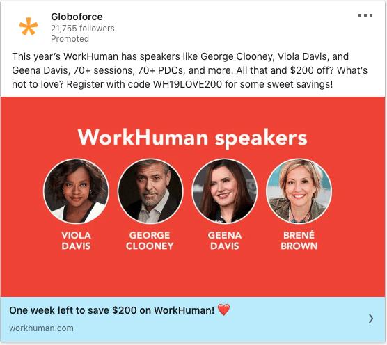 Globoforce ads on WorkHuman speakers