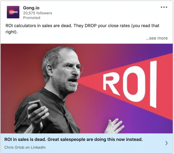 Gong.io ads on ROI