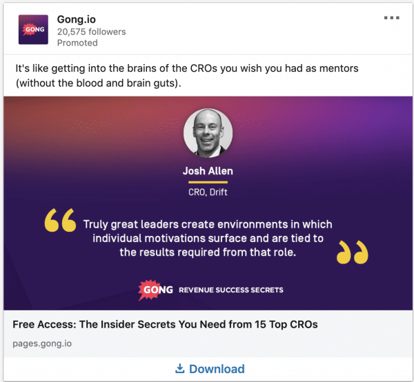 Gong.io ads on Revenue Success Secrets