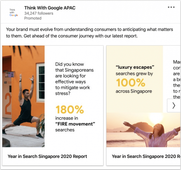 Think with Google ads on Singapore 2020 Reports