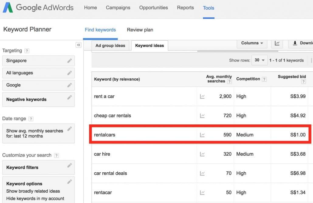 Google AdWords Keyword Planner Estimate Keyword Bids