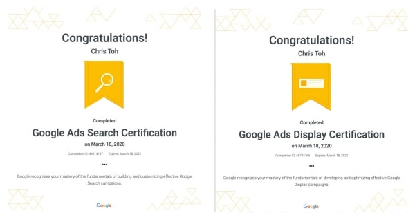 Google Ads Search and Display Certifications