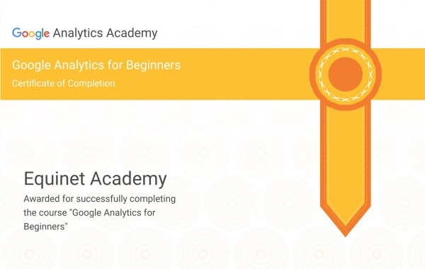 Google Analytics for Beginners Certificate of Completion Sample