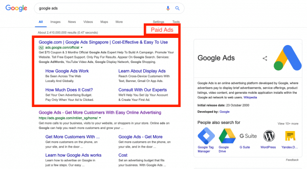 Google Paid Ads Search Results