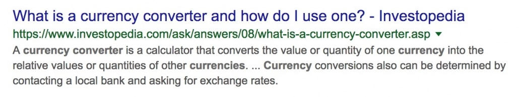 Google Search Result returning query for currency converter tool