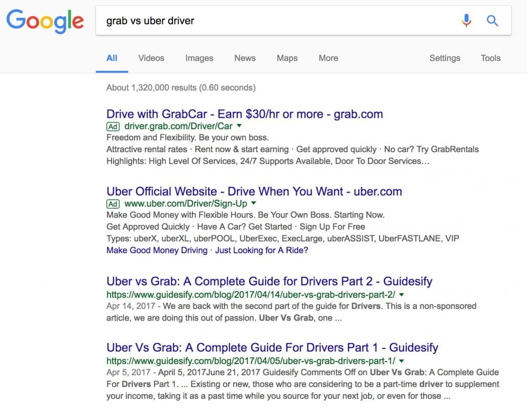 Google comparison search between grab and uber