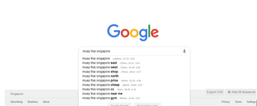 Google search bar example