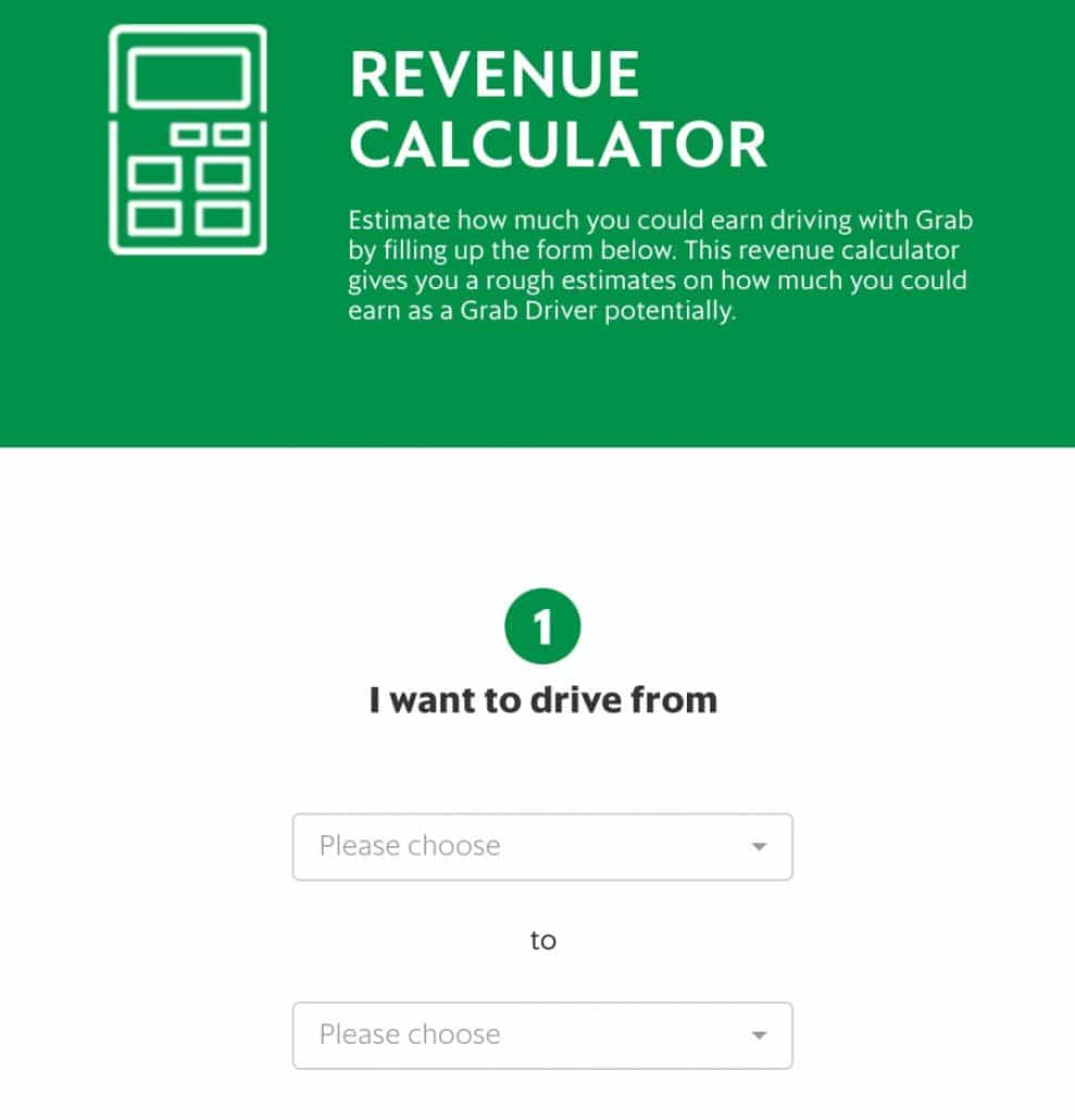 Grab revenue calculator landing page