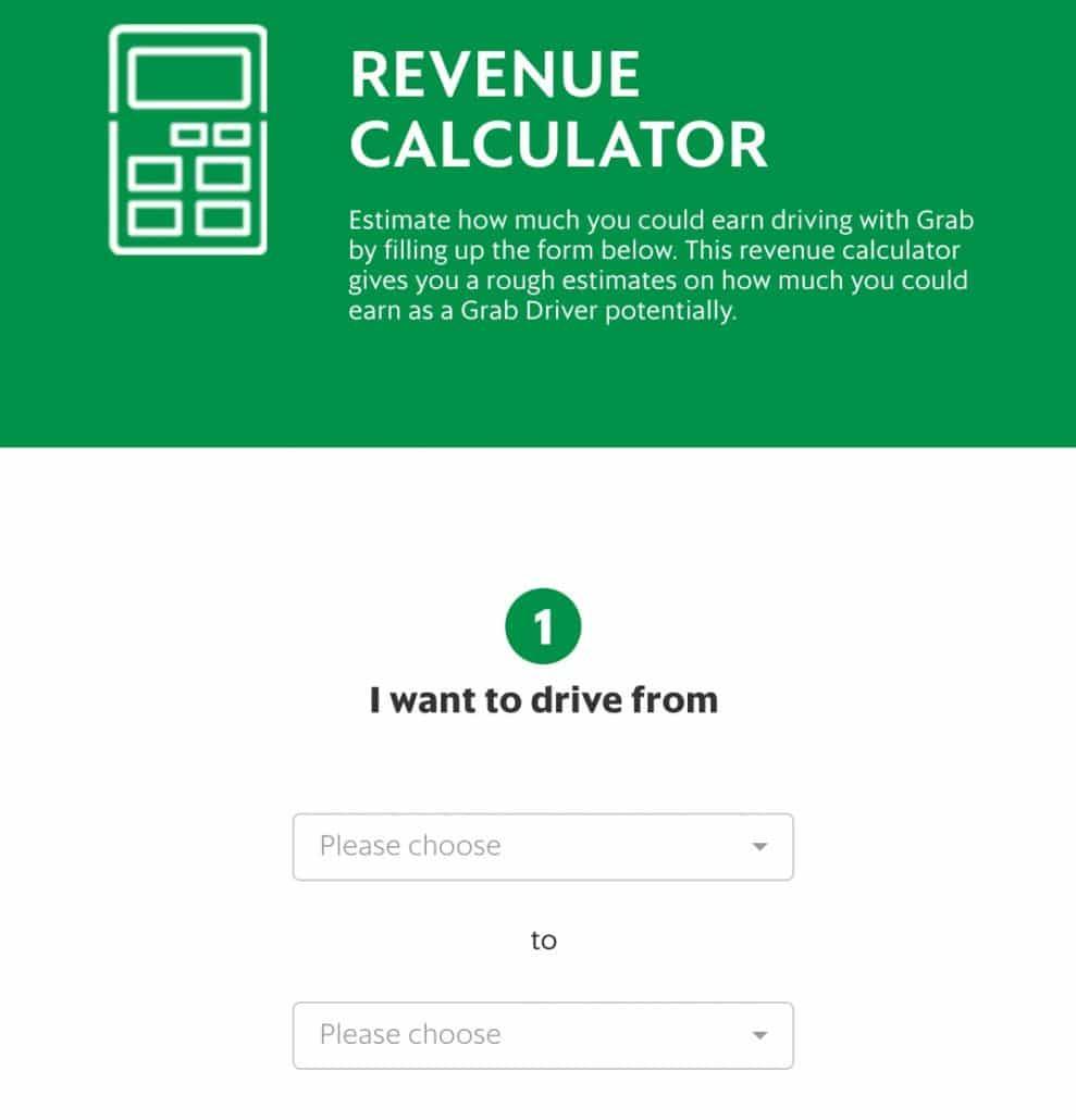 Grab revenue calculator landing page