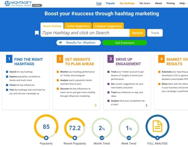 Hastagify Social Media Analytics tool