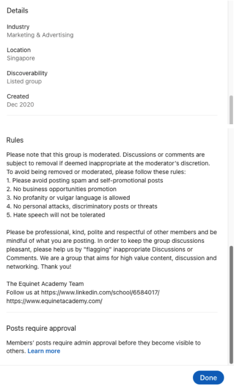 Caption: Equinet Academy's LinkedIn Group Community Guidelines