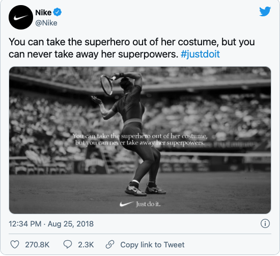 """One of Nike's """"Dream Crazy"""" campaign posts featuring American Tennis Player Serena Williams."""