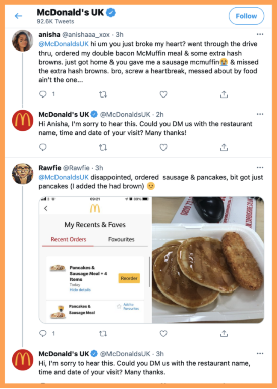 McDonald's UK Community Managers responding to customer complaints in a timely manner.