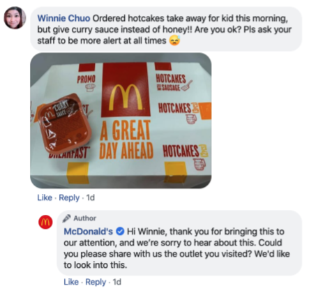 McDonald's Singapore Community Managers taking action on a platform like Facebook shows customers they care on a public forum.